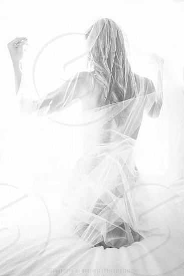 boudoir black and white veil bride photo