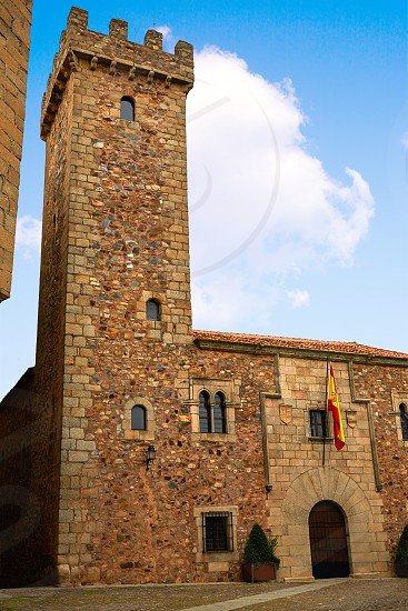 Ciguenas house tower in caceres at Extremadura of spain photo