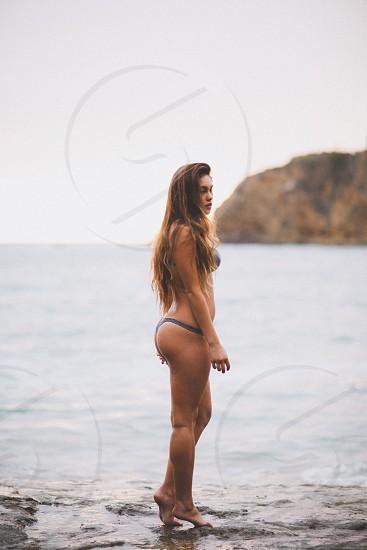 woman wearing gray bikini photo