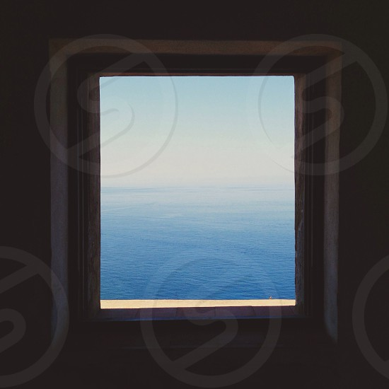 Sea . Window . View . Sea view . Beauty . Blue . Frame  photo