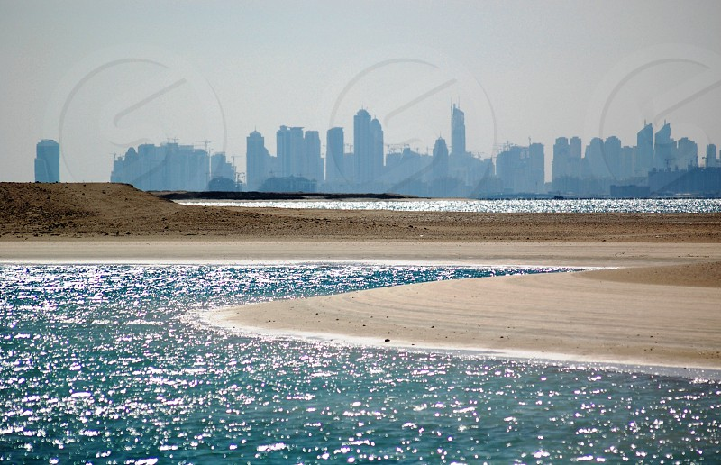 skyline of Dubai from The World islands photo
