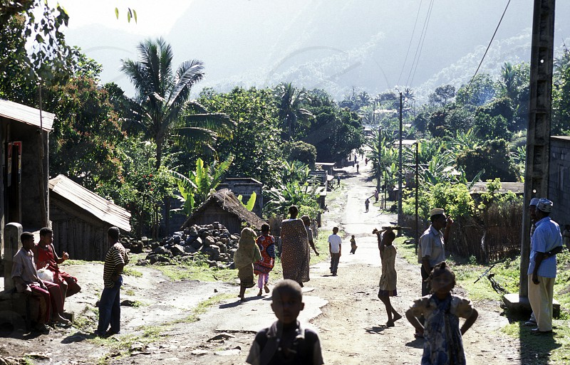 a road in a village on the Island of Anjouan on the Comoros Ilands in the Indian Ocean in Africa.    photo