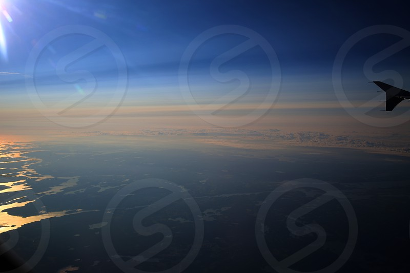 Airplane view from above at twilight. photo