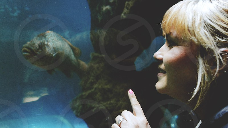 blond haired woman looking at brown fish photo