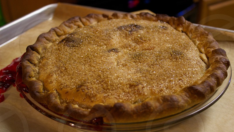 Homemade cherry pie photo