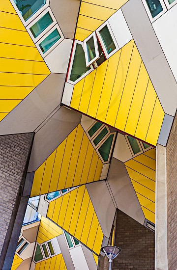 Cubes rotterdam holland netherlands building geometry yellow straight lines photo