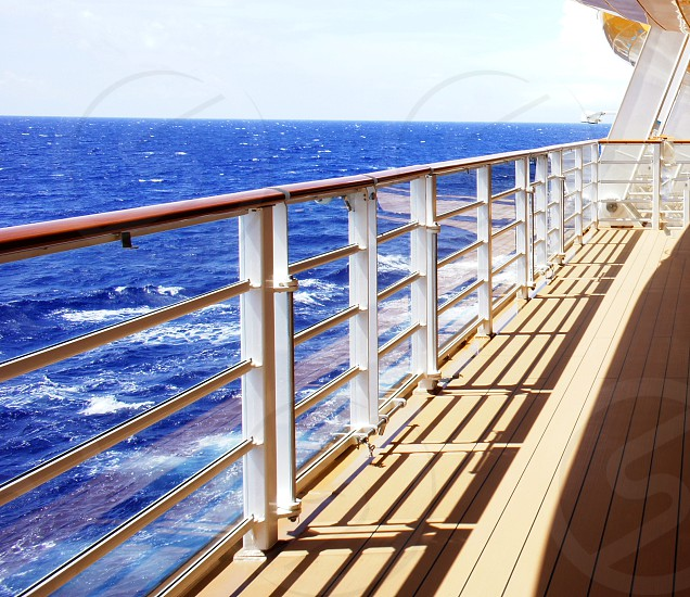 Cruise ship deck and railing photo