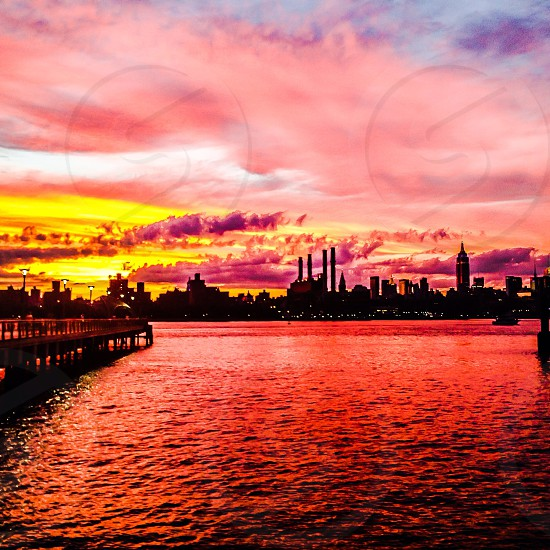 Sunset of Manhattan Skyline from Brooklyn photo