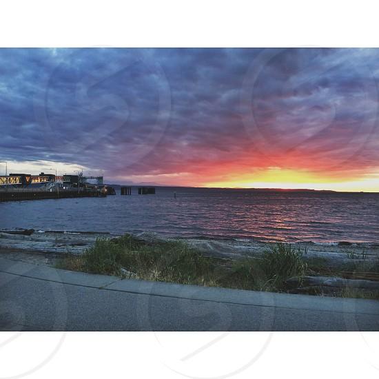 sunset edmonds beach fire in the sky color ocean pnw photo
