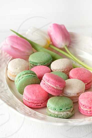 French Macarons in Spring Colors with matching tulips photo