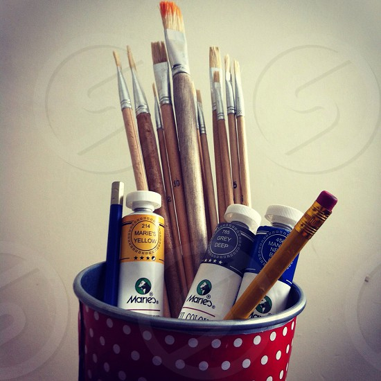 Colours and paintbrushes photo