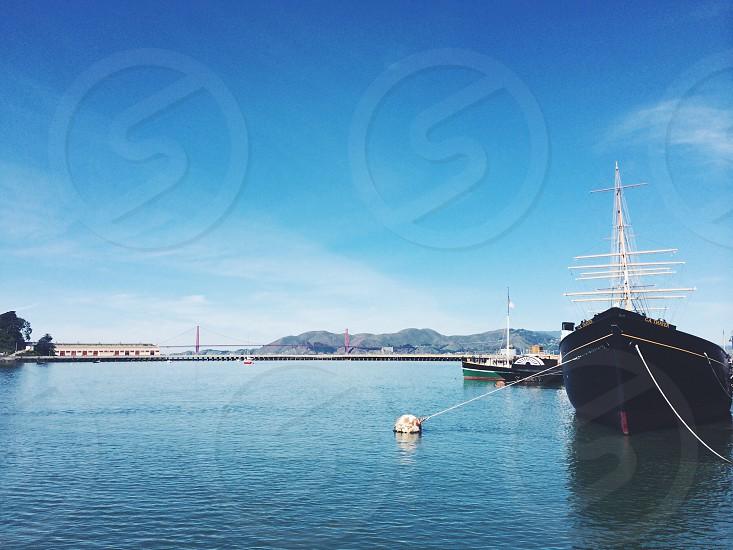 San fransicso fishermans warf boat Golden Gate Bridge California summer photo