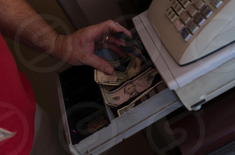 older cash register currency business photo