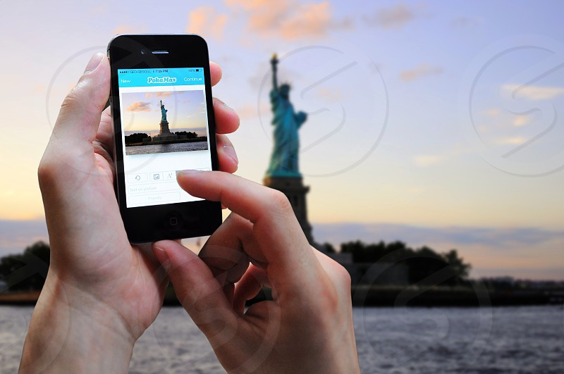 statue of liberty captured from smartphone photo