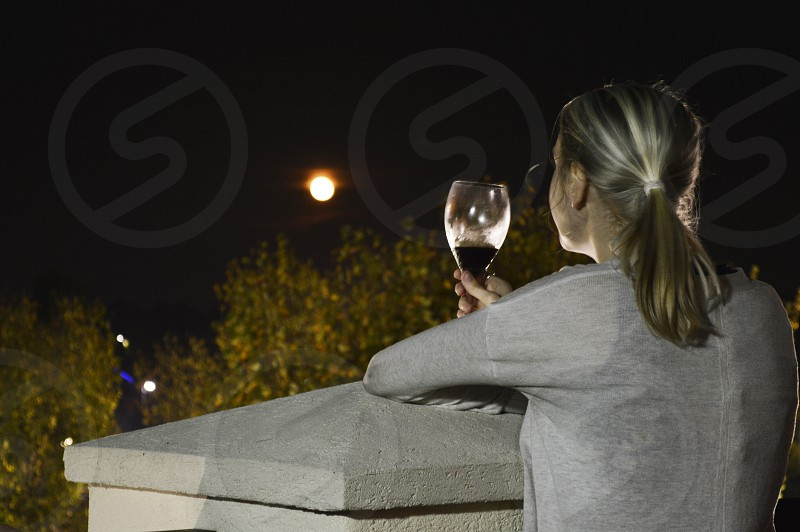 2014 Blood Moon Full moon drink wine woman outdoor romantic photo