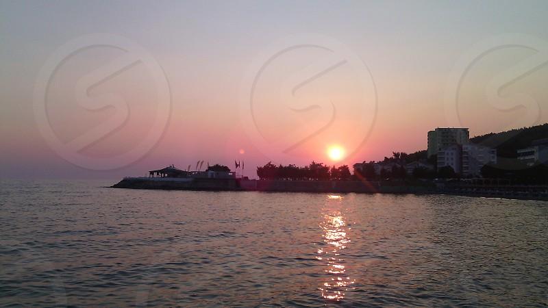 The wonderful sun fall in Albania. photo