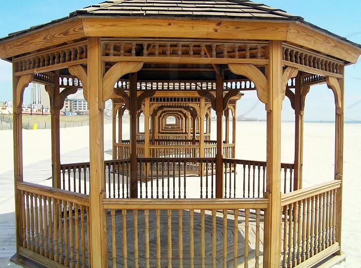 brown wooden framed gazebo photo
