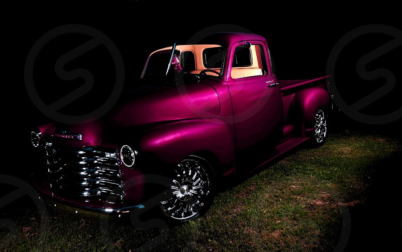 """1952 Chevy 5-window pickup. I did this """"Painting With Light"""" image for someone in TN. He found this truck in a wooded area with a large cedar tree growing out of the hood. Seven years and $26000 laterhe had this smooth ride. photo"""