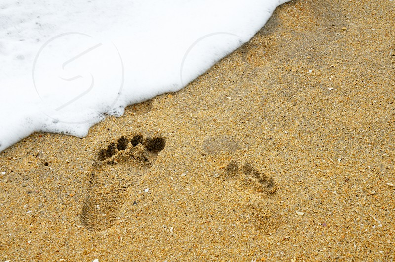 Footprints in sand. photo