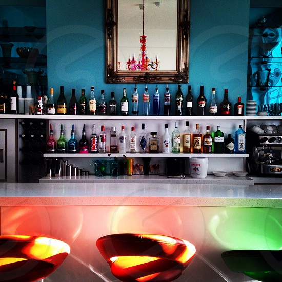 Bar stool in a peaceful empty bar.  photo