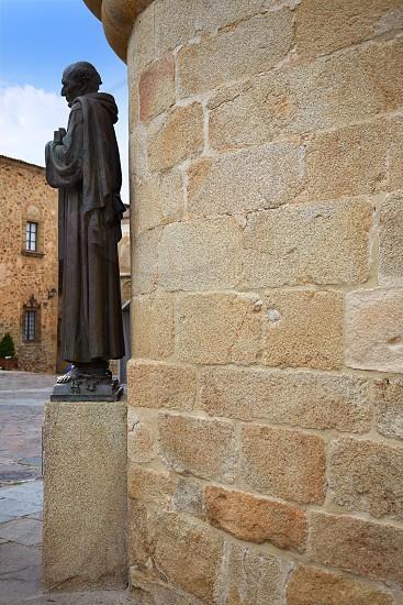 Caceres Concatedral Santa Maria church in Spain Extremadura San Pedro alcantara statue photo