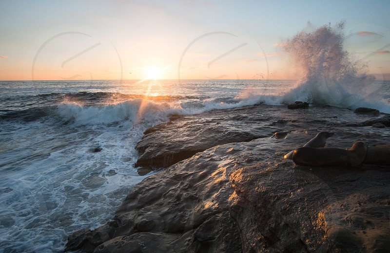 Sunset over the Pacific Ocean at La Jolla CA photo