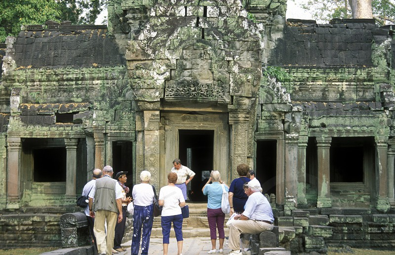 the Prah Khan temple in Angkor at the town of siem riep in cambodia in southeastasia.  photo