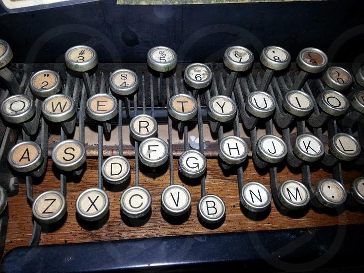 Vintage typewriter keys. Type writer key antique nostalgic old numbers photo