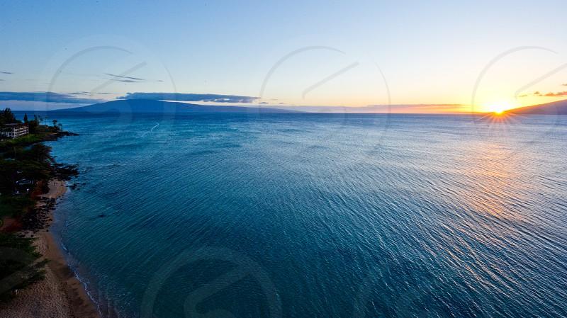 Kahana Beach Watching Sunset over Molokai photo