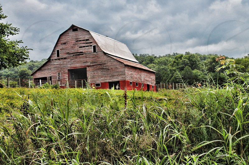 Looking up through a field in the foreground to a weathered barn under a cloudy sky. photo