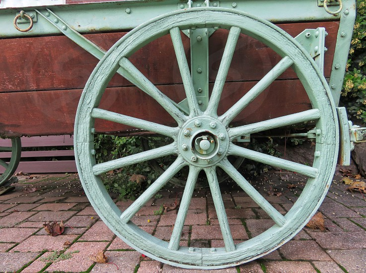old carriage wheel photo