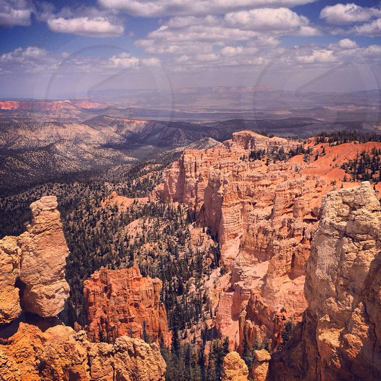 high angle view of the brown rock formations photo