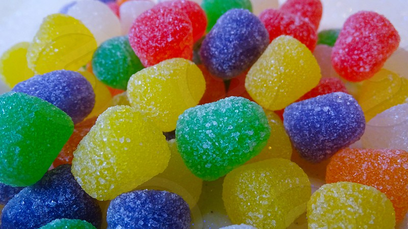 Gumdrops candy in various colors and flavors.  photo