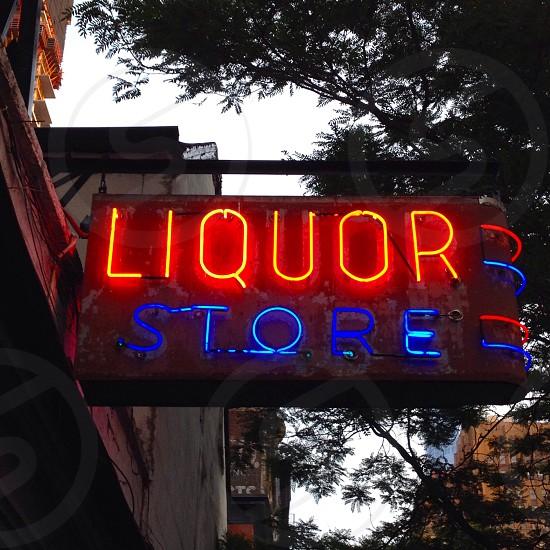 Neon sign urban liquor store nyc photo