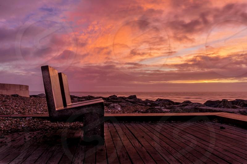Worthing sunrise beach chairs colours colour cloud Sky photo