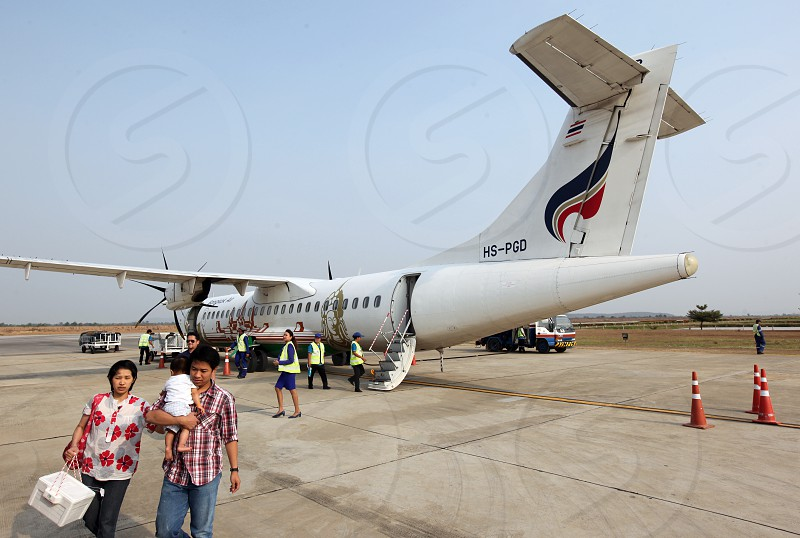 a airplane of Bangkok airways at the airport of Sukothai in the Provinz Sukhothai in the north of Bangkok in Thailand Southeastasia. photo