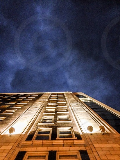 Building night city architecture cloudy Iowa  photo