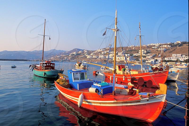 Boats in Mykonos Greece photo
