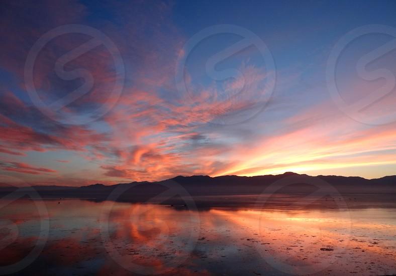 Reflection Sunset in Lake. photo