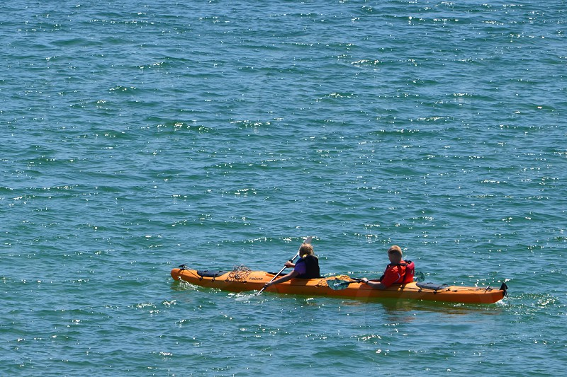 Kids in yellow kayak photo