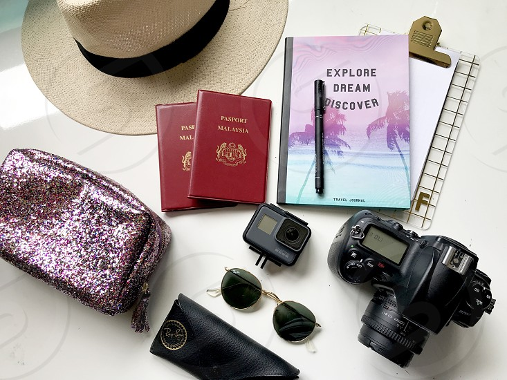 #travel #travel items #flatlay #topview #passport #camera #journal #travels  photo