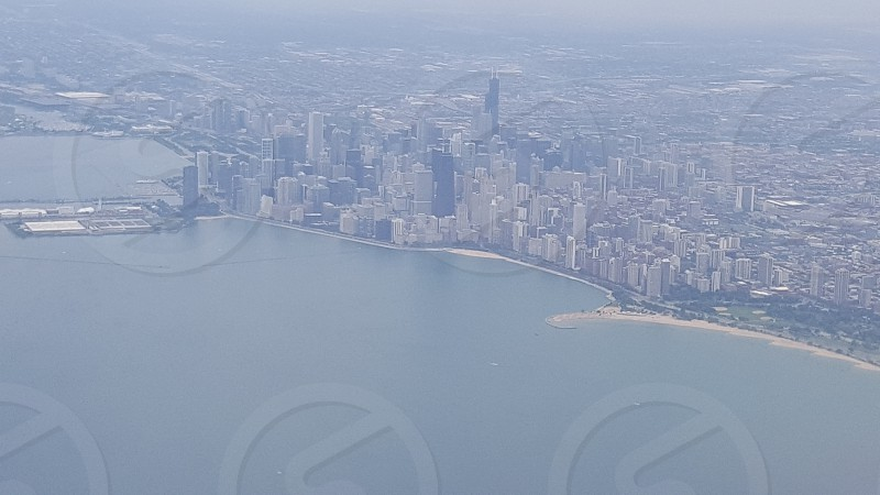 Chicago skyline from the air photo