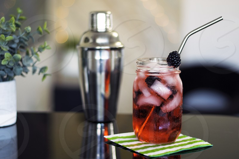 Beautiful mixed drink with fresh fruit photo