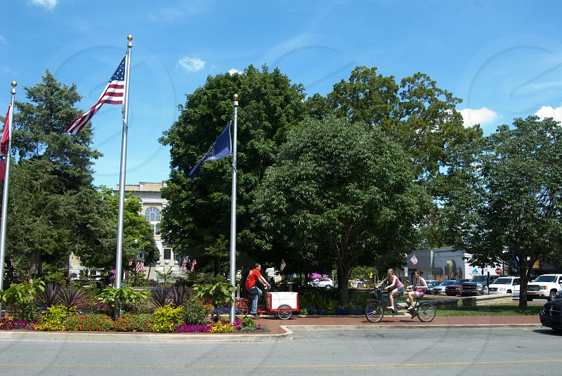 Bentonville downtown square with ice cream vendor and tandem bike photo