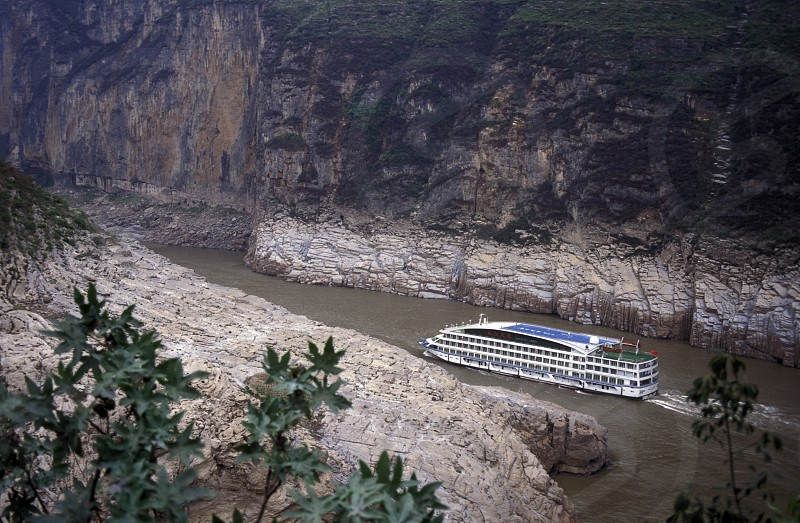 the landscape of the yangzee river in the three gorges valley up of the three gorges dam projecz in the province of hubei in china. photo