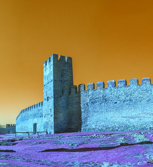 Fortress walls and tower from the inside of the Akkerman Citadel in Ukraine photo