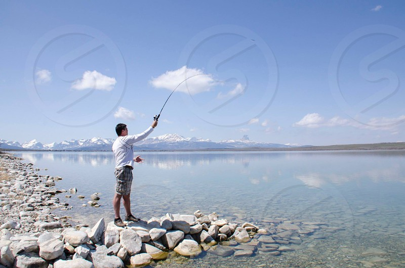 Fishing at Duck Lake Montana photo
