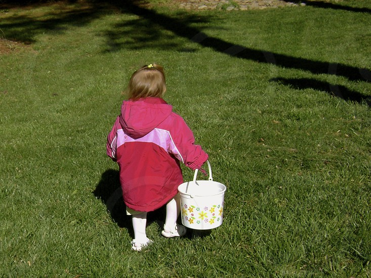 Little girl with Easter basket photo