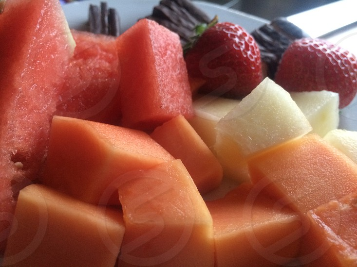 view of sliced assorted fruits photo
