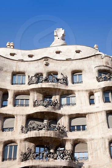 Barcelona La Pedrera facade by Gaudi architect in Paseo de Gracia photo